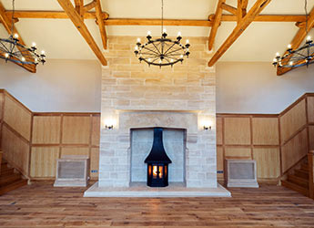 Large Limestone Fireplace