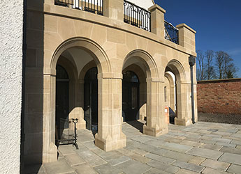 Bespoke stone for luxury property development - beautiful exterior archways
